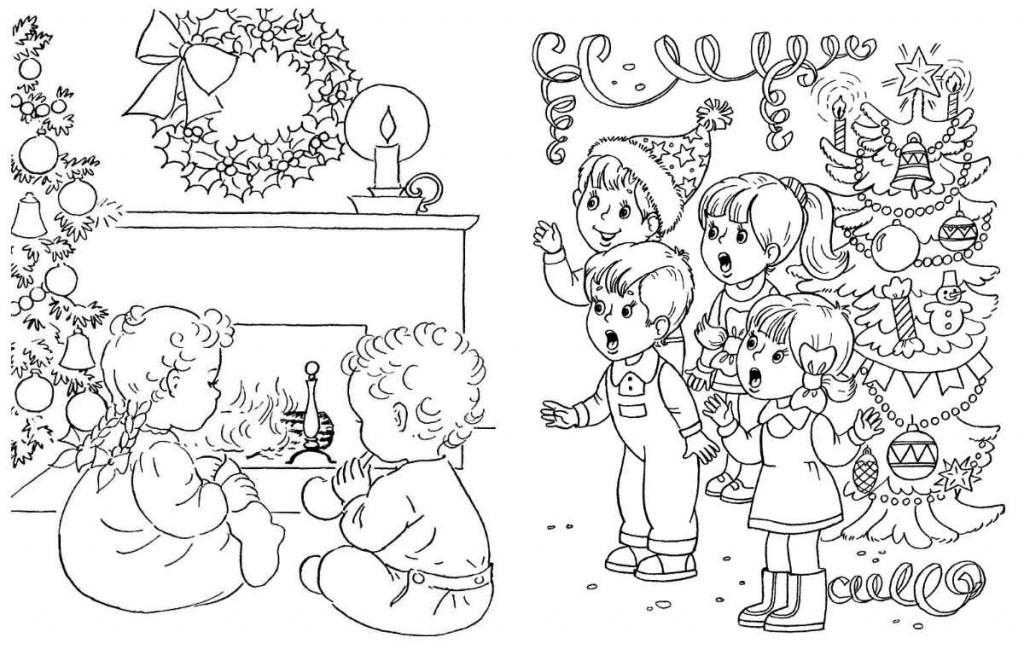 Раскраска про Новый год для детей. Распечатать и раскрасить
