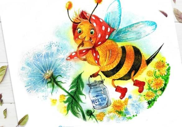 Пчелка На Хвосте Иголка и мальчик-пчела Хью