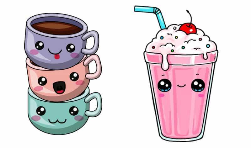 Кавайные картинки для срисовки еда и напитки по одному