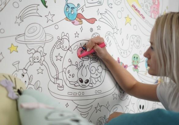 Масштабная раскраска на стену «Веселый космос»