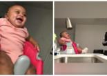 Младенец ухахатывается, глядя как папа занимается боксом