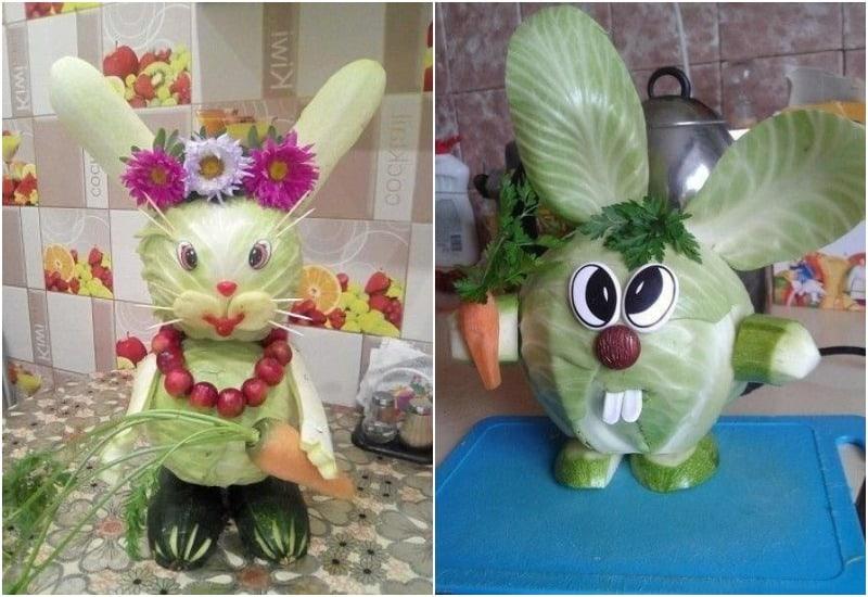 поделка заяц из овощей